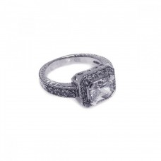 Wholesale Sterling Silver 925 Rhodium Plated Pave Clear Cluster CZ Square Ring - ACR00002