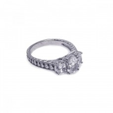 Wholesale Sterling Silver 925 Rhodium Plated CZ Past Present Future Ring - ACR00004