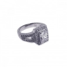 Wholesale Sterling Silver 925 Rhodium Plated Micro Pave Clear Cluster CZ Square Ring - ACR00006