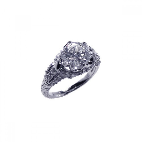 Wholesale Sterling Silver 925 Rhodium Plated Micro Pave Clear CZ Flower Ring - ACR00007