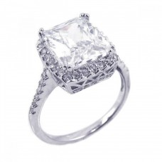 Sterling Silver Rhodium Plated Clear Cluster CZ Square Antique Ring acr00008