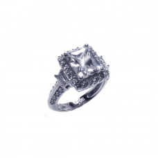 Sterling Silver Rhodium Plated Clear Cluster CZ Square Ring acr00009