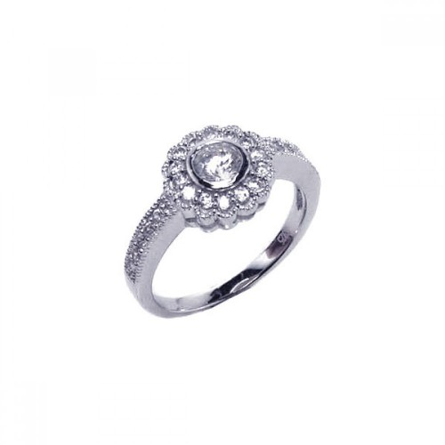 Wholesale Sterling Silver 925 Rhodium Plated Micro Pave Clear Cluster CZ Flower Ring - ACR00013
