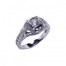 Sterling Silver Rhodium Plated Clear CZ Inlay Antique Ring acr00014
