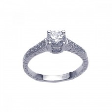 Wholesale Sterling Silver 925 Rhodium Plated Pave Round Center CZ Ring - ACR00016