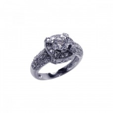 Wholesale Sterling Silver 925 Rhodium Plated Pave CZ Ring - ACR00017