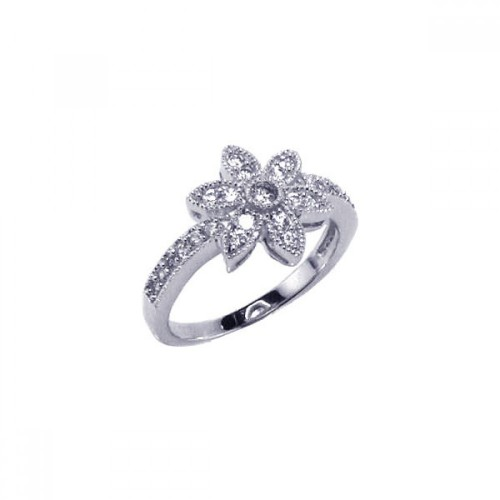 Wholesale Sterling Silver 925 Rhodium Plated Micro Pave CZ Flower Ring - ACR00018