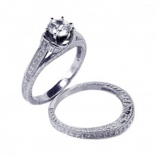 Wholesale Sterling Silver 925 Rhodium Plated Pave Clear Round CZ Engagement Ring Set - ACR00021