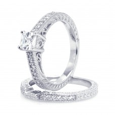 Wholesale Sterling Silver 925 Rhodium Plated Pave Princess Cut Center CZ Engagement Ring Set - ACR00022
