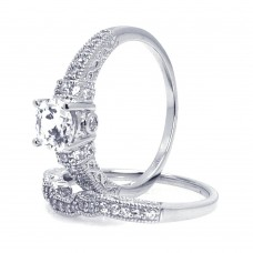 Wholesale Sterling Silver 925 Rhodium Plated Pave Round Center Clear CZ Engagement Ring Set - ACR00024