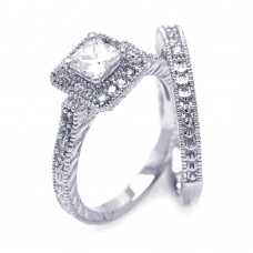 Wholesale Sterling Silver 925 Rhodium Plated Pave Clear Square Cluster CZ Engagement Ring Set - ACR00025