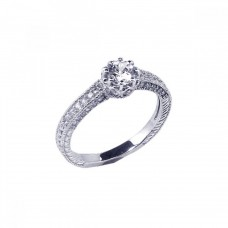 Wholesale Sterling Silver 925 Rhodium Plated Pave Round Center CZ Ring - ACR00026