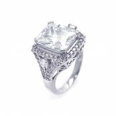 Wholesale Sterling Silver 925 Rhodium Plated Pave Clear Square Center Cluster CZ Ring - ACR00029