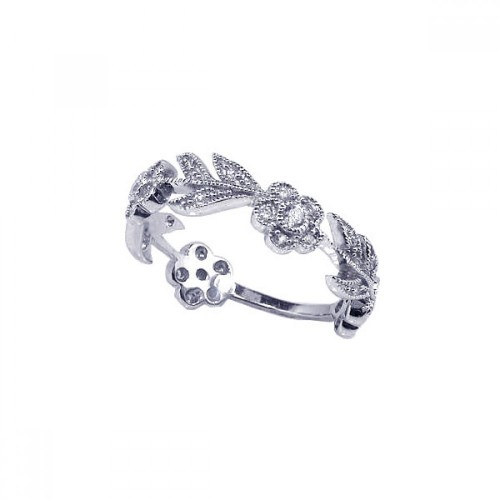 Wholesale Sterling Silver 925 Rhodium Plated CZ Flower Leaf Eternity Ring - ACR00030