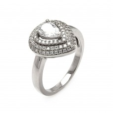 Sterling Silver Rhodium Plated Micro Pave Clear Center CZ Multi Layer Tear Ring - ACR00056