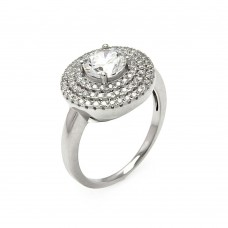 Sterling Silver Rhodium Plated Micro Pave Clear CZ Multi Layer Round Ring - ACR00057