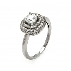 Wholesale Sterling Silver 925 Rhodium Plated Micro Pave Clear Center CZ Multi Layer Square Ring - ACR00058