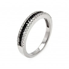 Sterling Silver Rhodium and Black Rhodium Plated Half Micro Pave Black and Clear CZ Ring - ACR00059