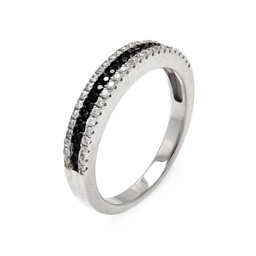Wholesale Sterling Silver 925 Rhodium and Black Rhodium Plated Half Micro Pave Black and Clear CZ Ring - ACR00059