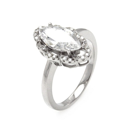 Sterling Silver Rhodium Plated Micro Pave Clear CZ Marquise Ring - ACR00060