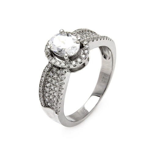 Wholesale Sterling Silver 925 Rhodium Plated Micro Pave CZ Oval Ring - ACR00061