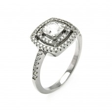Sterling Silver Rhodium Plated Micro Pave Clear CZ Multi Layer Square Ring - ACR00063