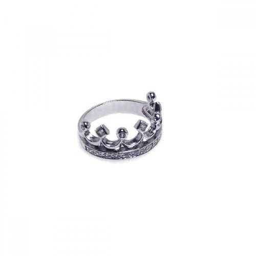 Wholesale Sterling Silver 925 Rhodium Plated Clear CZ Crown Ring - BGR00002