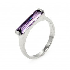 ***CLOSEOUT*** Sterling Silver Rhodium Plated Long Purple CZ Bar Ring - BGR00003AMY