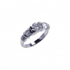Sterling Silver Rhodium Plated Clear Baguette Round CZ Ring bgr00007