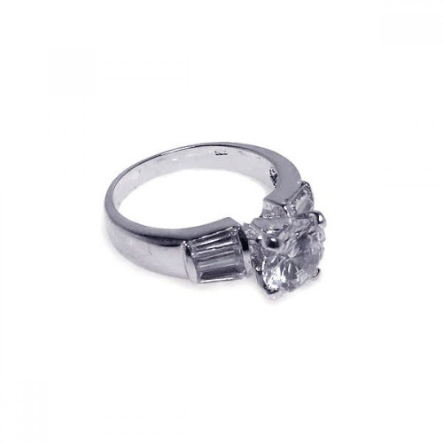 Wholesale Sterling Silver 925 Rhodium Plated Clear Baguette Round Center CZ Bridal Ring - BGR00015