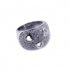 **Closeout** Wholesale Sterling Silver Rhodium Plated Clear Pave Set CZ Heart Dome Ring - BGR00019