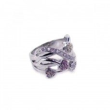 **Closeout** Wholesale Sterling Silver Rhodium Plated Multi Colored CZ Heart Ring - BGR00020