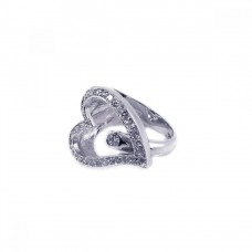 **Closeout** Wholesale Sterling Silver 925 Rhodium Plated Round Center CZ Sideways Open Heart Ring - BGR00023