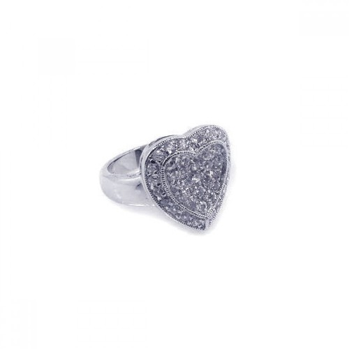 Wholesale Sterling Silver 925 Rhodium Plated Pave Set Clear CZ Solid Heart Ring - BGR00025