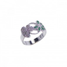 **Closeout** Wholesale Sterling Silver Rhodium Plated Green and Clear CZ Clover Ring - BGR00029