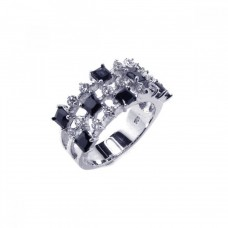 **Closeout** Sterling Silver Rhodium Plated Black and Clear CZ Ring - BGR00031