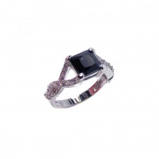 Sterling Silver Rhodium Plated Black Square Center & Clear CZ Ring bgr00032