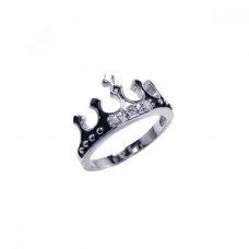 Wholesale Sterling Silver 925 Rhodium Plated Black Enamel CZ Crown Ring - BGR00036