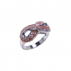 **Closeout** Wholesale Sterling Silver 925 Rose Gold and Rhodium Plated Pink and Clear CZ Infinity Ring - BGR00039