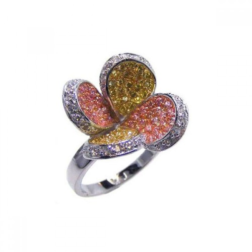 Wholesale Sterling Silver 925 Three Toned Multi-Color CZ Flower Ring - BGR00040