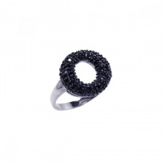 **Closeout** Sterling Silver Rhodium and Black Rhodium Plated Black CZ Open Circle Ring - BGR00044