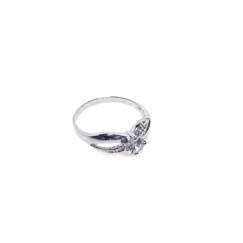 -Closeout- Wholesale Sterling Silver 925 Rhodium Plated Round Clear Center CZ Ring - BGR00049