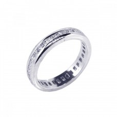 Wholesale Sterling Silver 925 Rhodium Plated Channel Set Clear Square CZ Eternity Ring - BGR00055