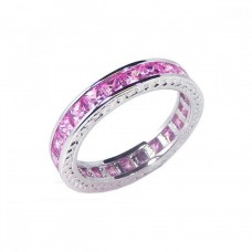 Sterling Silver Rhodium Plated Channel Set Pink Square CZ Eternity Ring bgr00056