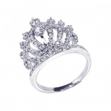 Wholesale Sterling Silver 925 Rhodium Plated Clear CZ Crown Ring - BGR00057