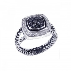 **Closeout** Sterling Silver Black Rhodium Plated Clear Black CZ Rope Square Ring - BGR00059