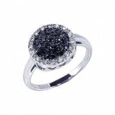 Sterling Silver Rhodium and Black Rhodium Plated Clear and Black CZ Circle Ring - BGR00060