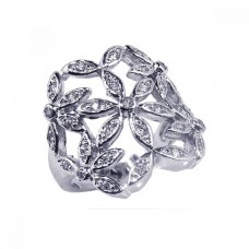 **Closeout** Sterling Silver Rhodium Plated Clear CZ Cigar Band Flower Ring - BGR00062