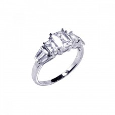 Sterling Silver Rhodium Plated Clear Baguette Rectangular CZ Bridal Ring bgr00066