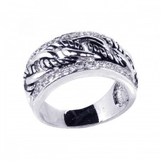 **Closeout** Sterling Silver Rhodium Plated Clear Channel Set CZ Half Rope Link Ring - BGR00067